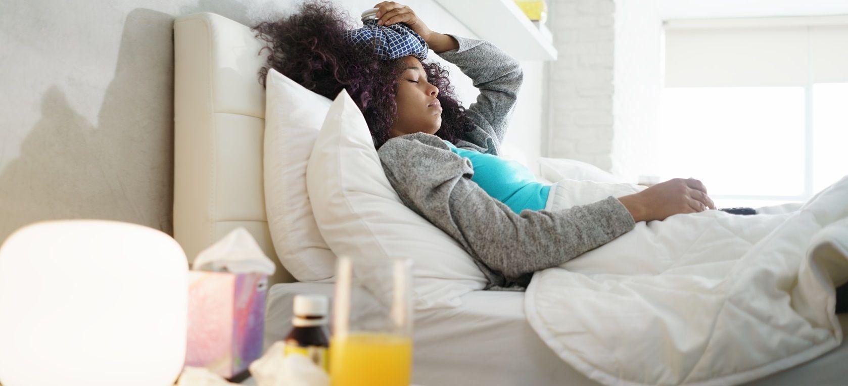 hiver femme malade au lit